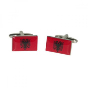 Mens Shirt Accessories - Albania Flag Cufflinks (With Black Presentation Box) - Novelty World Flag Theme Jewellery