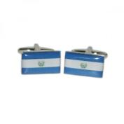 Mens Shirt Accessories - Elsalvador Flag Cufflinks (With Black Presentation Box) - Novelty World Flag Theme Jewellery