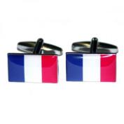 Mens Shirt Accessories - France Flag Cufflinks (With Black Presentation Box) - Novelty World Flag Theme Jewellery