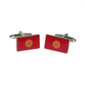 Mens Shirt Accessories - Kyrgystan Flag Cufflinks (With Black Presentation Box) - Novelty World Flag Theme Jewellery