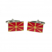 Mens Shirt Accessories - Macedonia Flag Cufflinks (With Black Presentation Box) - Novelty World Flag Theme Jewellery