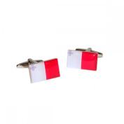 Mens Shirt Accessories - Malta Flag Cufflinks (With Black Presentation Box) - Novelty World Flag Theme Jewellery