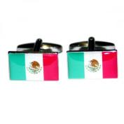 Mens Shirt Accessories - Mexico Flag Cufflinks (With Black Presentation Box) - Novelty World Flag Theme Jewellery
