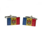 Mens Shirt Accessories - Moldova Flag Cufflinks (With Black Presentation Box) - Novelty World Flag Theme Jewellery