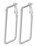 Smile YKK 925 Sterling Silver Fashion Rectangle Hoop Dangle Women's Earrings