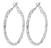 Smile YKK 925 Sterling Silver Women 's Large Hoop Dangle Fashion Earrings