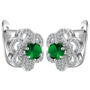 Smile YKK 925 Sterling Silver Flower Green CZ Dangle Earrings Ear Stud for Ladies