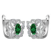 Smile YKK Women's 925 Sterling Silver Butterfly Green CZ Hoop Earrings Ear Stud