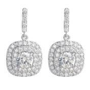 SELOVO Cushion Cut Cubic Zirconia Wedding Bridal Prong Square CZ Drop Pierced Earrings Silver Tone