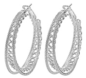 Smile YKK 925 Sterling Silver Double Layer Large Hoop Dangle Women's Earrings