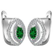Smile YKK Women's 925 Sterling Silver Oval Green CZ Hoop Earrings Ear Stud