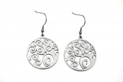 Silver Stainless Steel Hollow Out Flower Design Round Drop Earrings