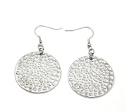 Stainless Steel Silver Hammered Plain Women's Round Drop Earrings