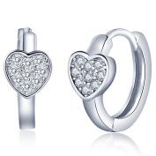 Infinite U Classic Hearts 925 Sterling Silver Cubic Zirconia Hoop Creole Earrings Earbob for Women/Girls, Silver
