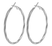 Smile YKK Women's 925 Sterling Silver Hoop Dangle Big Circle Earrings Ear Stud