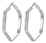 Smile YKK 925 Sterling Silver Fashion Hexagon Hoop Dangle Women's Earrings