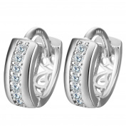 Smile YKK 925 Sterling Silver Hollow CZ Dangle Earrings Ear Stud for Ladies