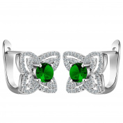 Smile YKK 925 Sterling Silver Fashion Flower Green CZ Hoop Earrings Ear Stud