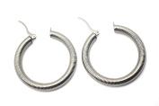 Silver 316l Stainless Steel 4.1cm diameter Round Hoop Earrings