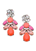 Happiness Boutique Women Statement Earrings Orange Pink Clear Colour | Chandelier Multi Coloured Gems nickel free