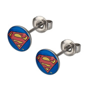 Official DC Comics Retro Superman Classic Logo Stainless Steel Stud Earrings