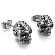 MENDINO Mens Cubic Zirconia Stainless Steel Gothic Skull Stud Earrings Silver Black 1 Pair 2pcs with Gift Bag