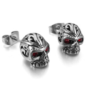 MENDINO Mens Cubic Zirconia Stainless Steel Gothic Skull Stud Earrings Red Silver 1 Pair 2pcs with Gift Bag