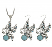 Fengteng Turquoise Set Butterfly Necklace Diamond Earrings