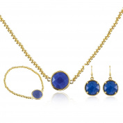 EVBEA Jewellry Set for Women Ball Adjustable Chain Circular Necklace and Earring Bangle 3 Set