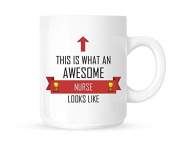 This Is What An Awesome Nurse Looks Like - Tea/Coffee Mug/Cup - Red Ribbon Design - Great Gift Idea