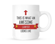 This Is What An Awesome Lawyer Looks Like - Tea/Coffee Mug/Cup - Red Ribbon Design - Great Gift Idea