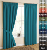 H.Versailtex Solid Thermal Insulated Blackout Pencil Pleat Anti - Mite Curtains for Bedroom with Two Free Tiebacks - Teal, Energy Saving & Noise Reducting, 120cm Width x 140cm Drop, Set of 2 pieces