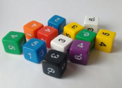 Opaque D6 numbered dice. 15mm. x12