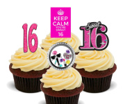 16th Birthday Girl, Sweet 16 Edible Cupcake Toppers - Stand-up Wafer Cake Decorations
