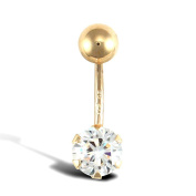 Jewelco London Ladies 9ct Yellow Gold White Round Brilliant Cubic Zirconia Solitaire Claw Set Banana Belly Bar, 10mm