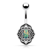Turquoise Imitation Opal Vintage Belly Bar Button Ring