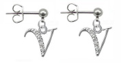 Cute Silver Stud Initial Earrings Earring with CZ crystals by BodyTrend - packed in a gift box