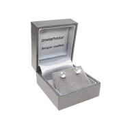 pewterhooter 925 Sterling Silver stud earrings expertly with sparkling Diamond White crystal from ® for Women. Silver Grey Luxury box.