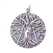 Solid Sterling Silver Pentagram Tree of Life Pendant Pagan