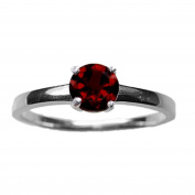 5mm Round Faceted Deep Red Genuine Garnet 925 Sterling Silver Ring Size P