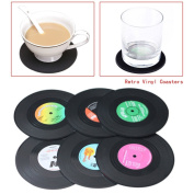 Stone Home New 6PCS Spinning Hat Retro Vinyl Record Coaster Set Novelty Drink Mats