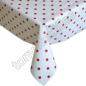 Polkadot White and Red Plastic Tablecloth Wipe Clean Pvc Vinyl Outdoor Kitchen Party