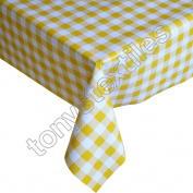 Gingham Cheque Yellow Plastic Tablecloth Wipe Clean Pvc Vinyl Outdoor Kitchen Party