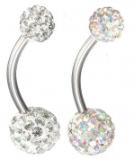 THENICE 2 Pcs 14 Gauge 1.6mm Navel Rings Belly Button Full Crystal Double Discos Ball
