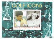 Golf Icons stamp sheet with 2 stamps featuring Seve Ballesteros and Ben Hogan - Mint - 2001 / Myanmar