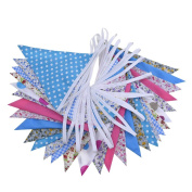 eBoot Floral Double Sided Fabric Bunting Vintage Chic Pennants 30 Flags Wedding Party Banner, 10m