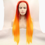 Kylie Jenner Heat Resistant Fibre long Hair Ombre dark yellow to yellow straight Hair Wigs Two Tone Synthetic Lace Front Wig For Women Drag Queen Hair Cosplay Wig