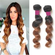 100% Peruvian Virgin Remy T#1b/30 100 Grammes Bundle Hair Loose Wave Auburn Ombre Human Weave Extensions Unprocessed 25cm