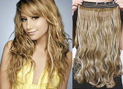 HOTstyle - 50cm one piece full head clip in hair weft extension wavy - mixed blonde