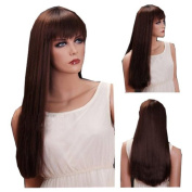 MELADY®(Free Cap) Fashion Casual Brown Long Straight with Steady Bangs Synthetic Women Girls Lady Hair Replacement Wigs